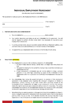 Sample Individual Employment Agreement Page 2