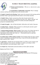 Family Meeting Agenda Templates