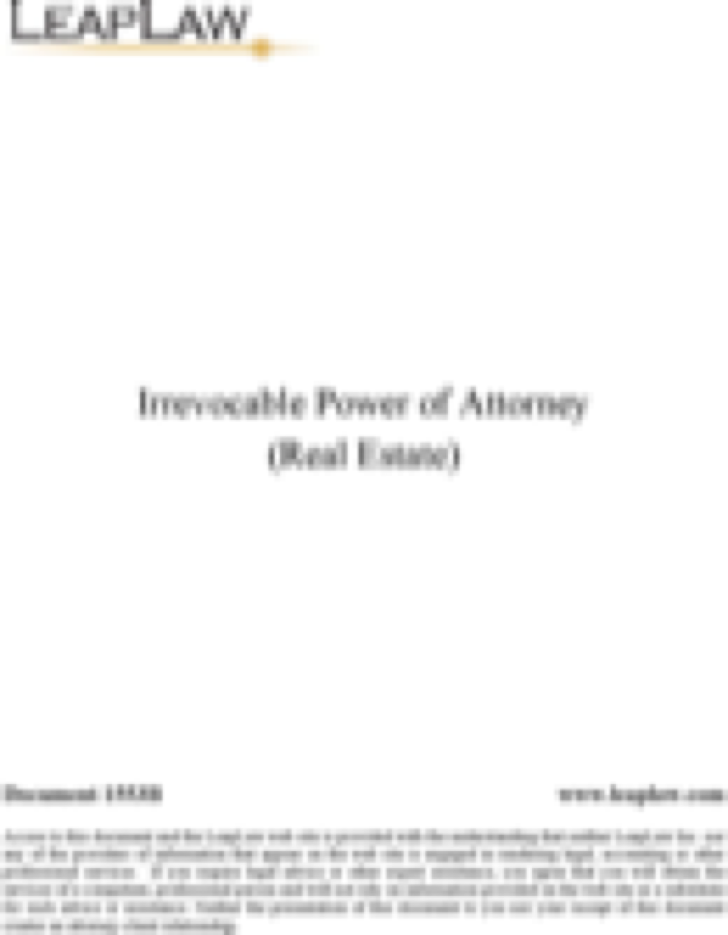 Irrevokable Power of Attorney Form