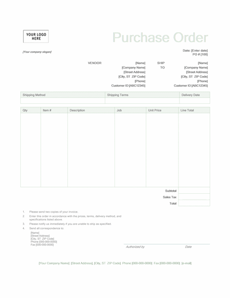 Purchase order (Green design)