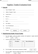Supplier/ Vendor Evaluation Form