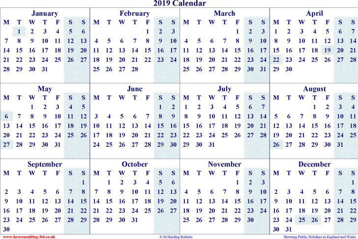 Download 2019 Yearly Calendar 2 For Free Tidyform
