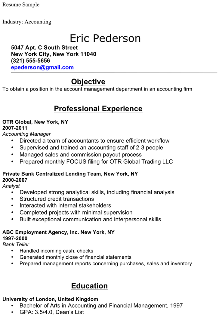 Accounting Student Resume Sample  Sample Resume For Accounting