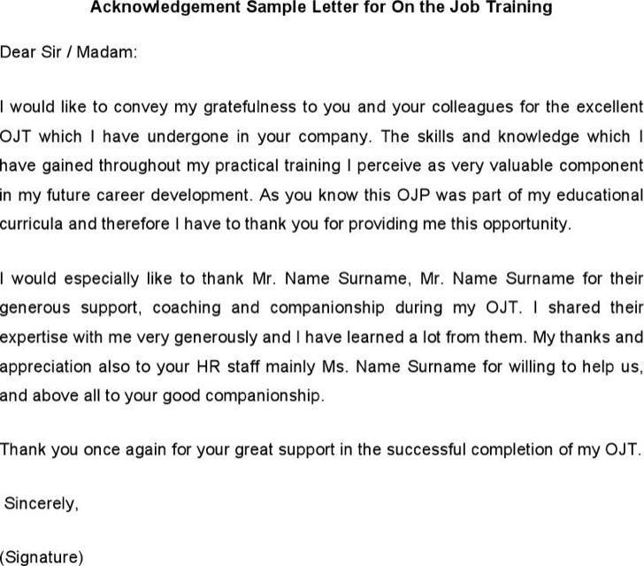 download acknowledgement sample letter for on the job training for