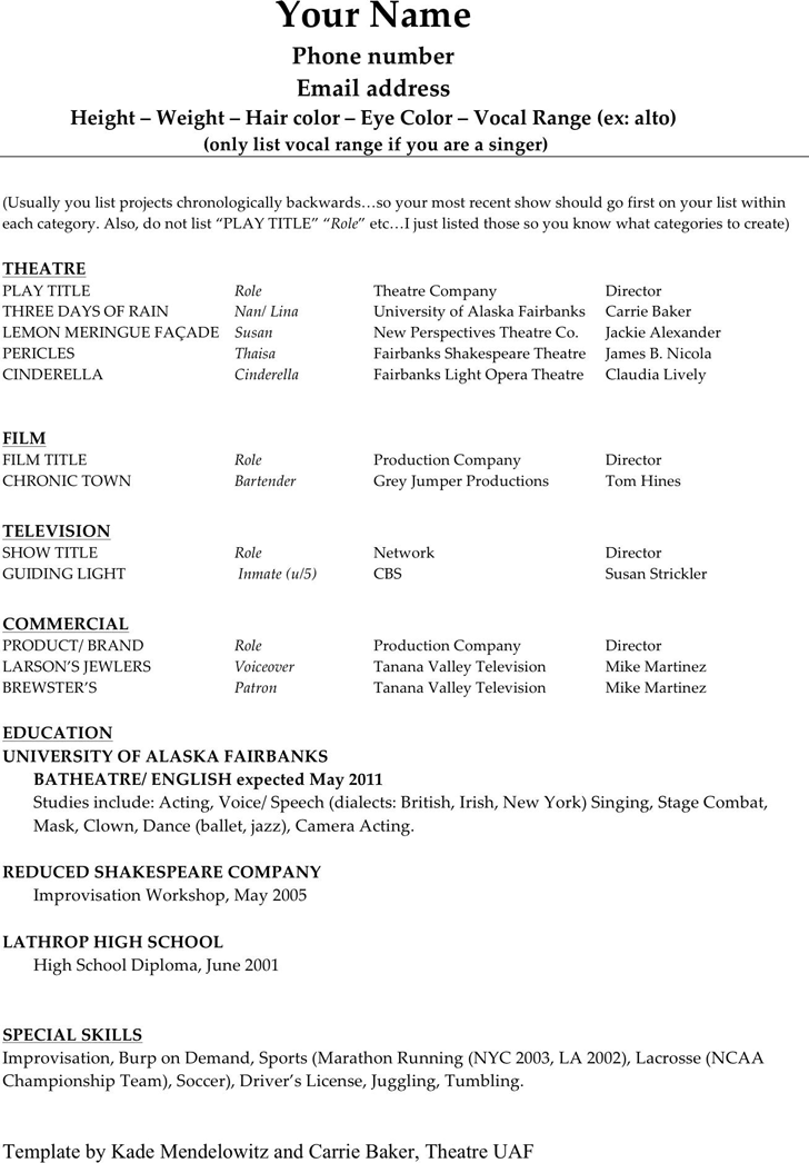 Acting Resume Template 1  Acting Resume Template