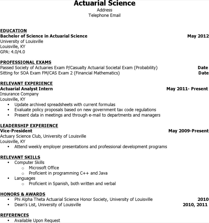actuarial science resume - Actuary Resume