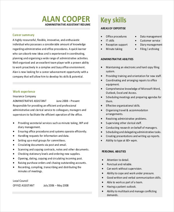 administrative assistant resume template download in pdf dental - Administrative Assistant Resume Sample
