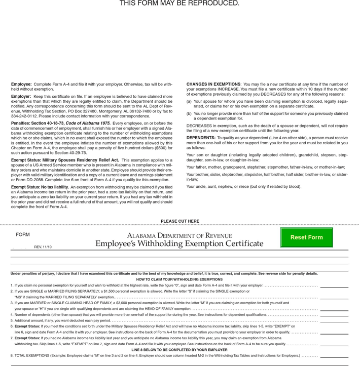Download Alabama Form A 4 for Free - TidyForm