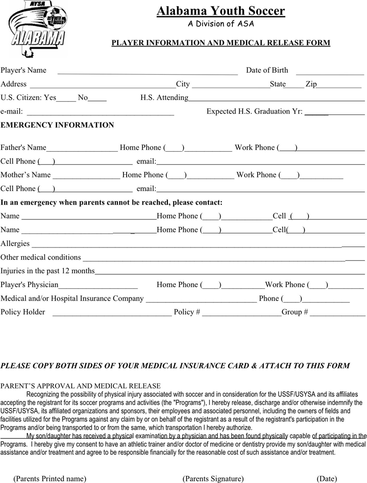 The Alabama Player Medical Release Form can help you make a – Medical Form