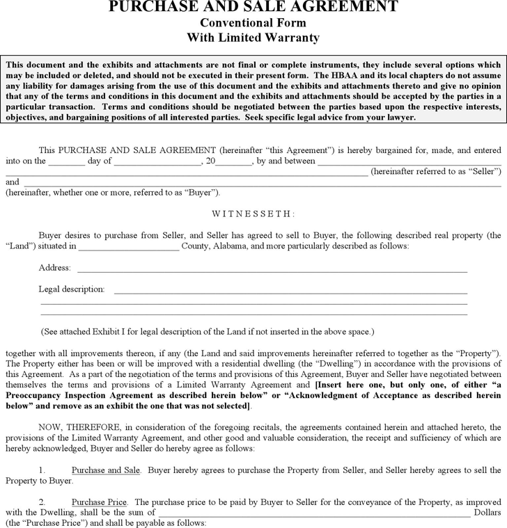 Alabama Purchase And Sale Agreement Form  Home Sales Agreement Template