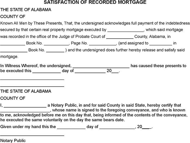 Marvelous Alabama Satisfaction Of Mortgage Form Great Pictures