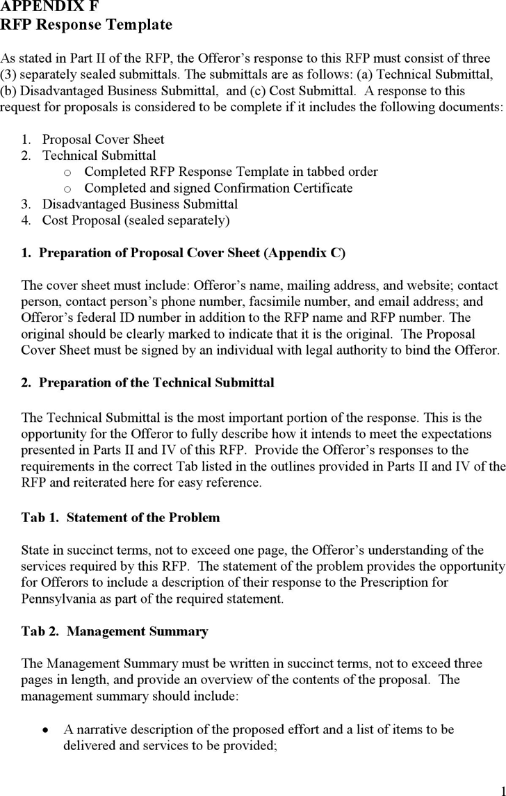 download appendix f rfp response template for free tidyform