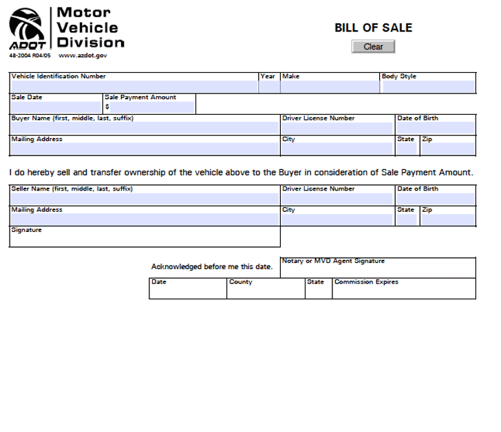 motor vehicle bill of sale form free