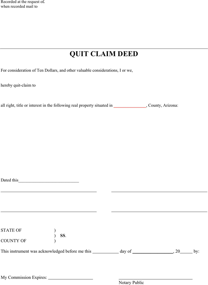 download arizona quitclaim deed form for free tidyform