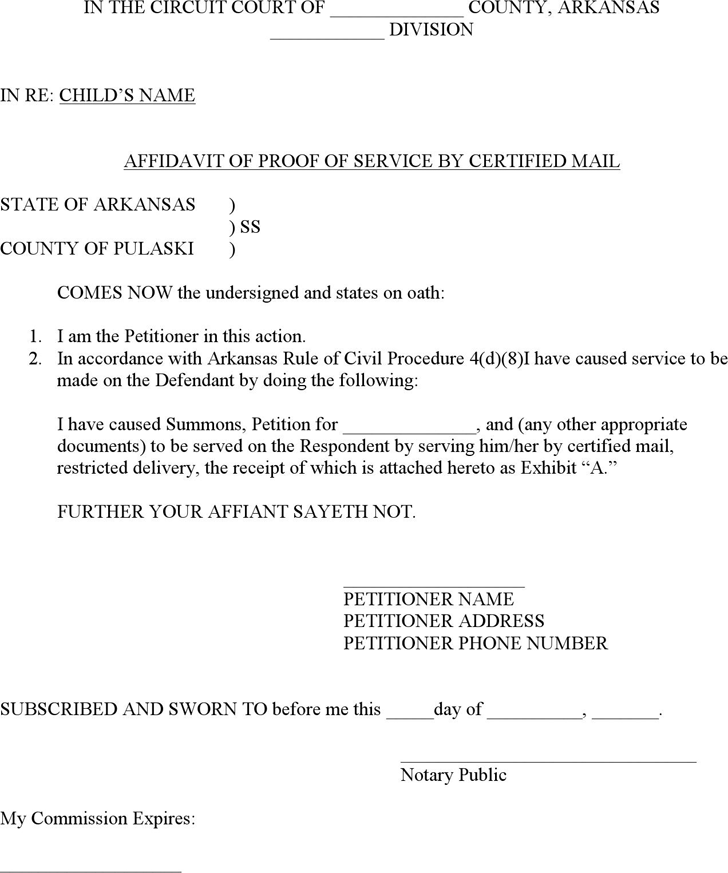 The Arkansas Affidavit of Proof of Service by Certified Mail Form – Proof of Receipt Form