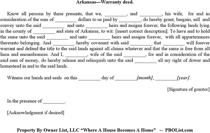 The Arkansas Warranty Deed Form can help you make a professional – Warranty Deed Form Template
