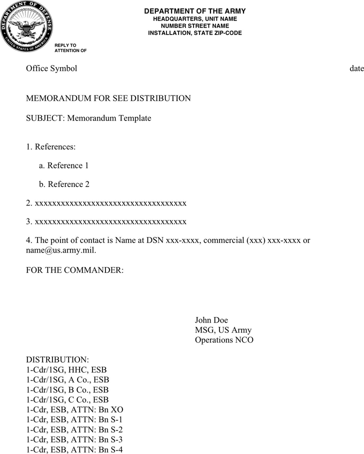 The Army Memorandum Template 1 can help you make a professional – Army Memo Template