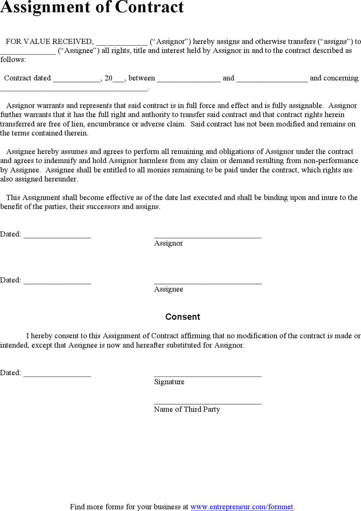 Great Download Assignment Of Contract For Free Good Looking
