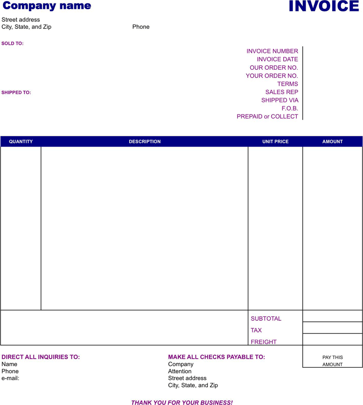 download easy invoice template for free tidyform