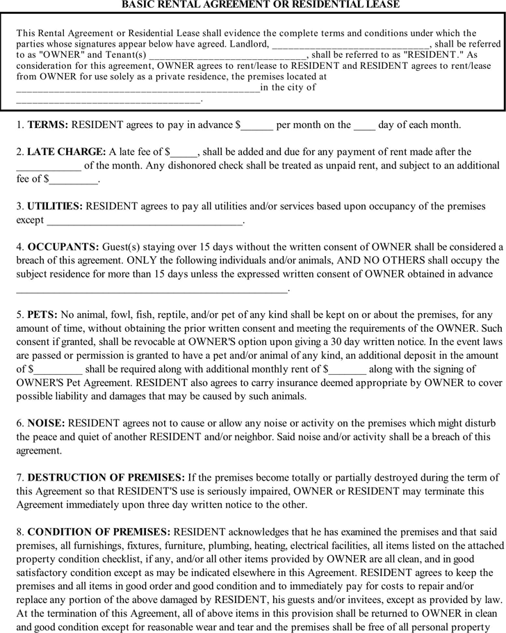 More than 300 professional rent and lease templates in Word Excel – Basic Rental Agreement Letter Template