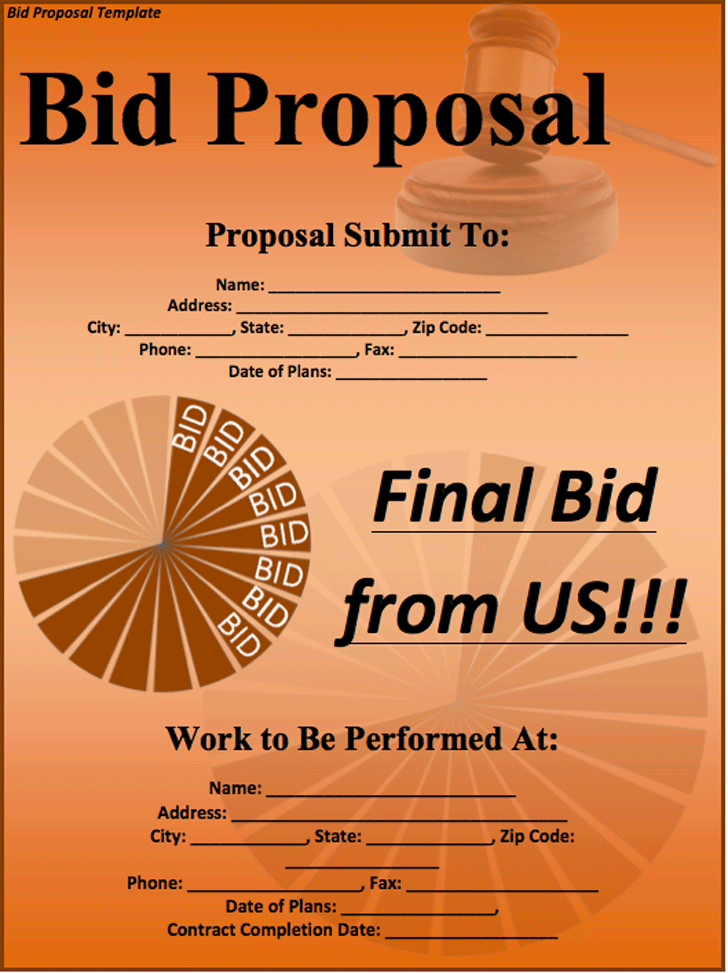 The Bid Proposal Template in PDF Word Excel format are free for – Bid Templates