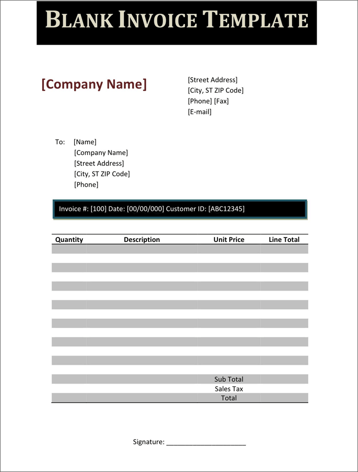 The Blank Invoice Template 3 can help you make a professional and – Blank Invoice Template