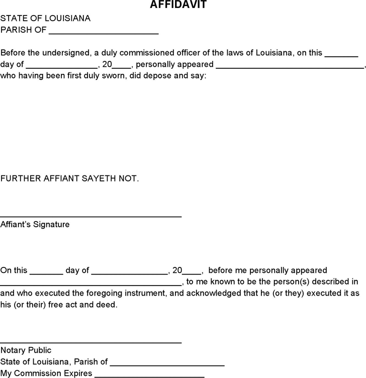 Affidavit Templates Free Printable Documents Affidavit Form – Free Affidavit Form