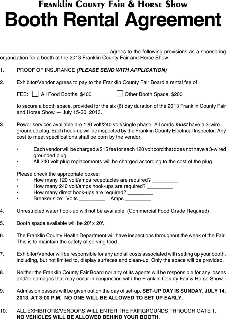 The Booth Rental Agreement Templates in PDF Word Excel format – Lease Agreement Contract