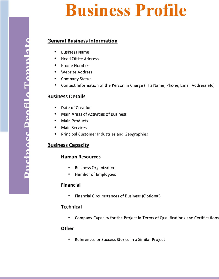 The Business Profile Template 2 Can Help You Make A Professional