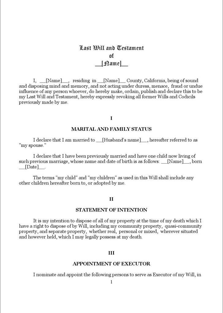 Download California Last Will And Testament Form 1 for Free - TidyForm