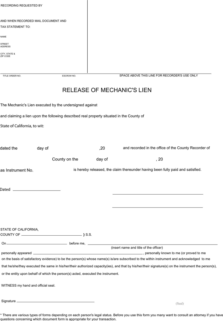 Download California Mechanic's Lien Release Form for Free - TidyForm