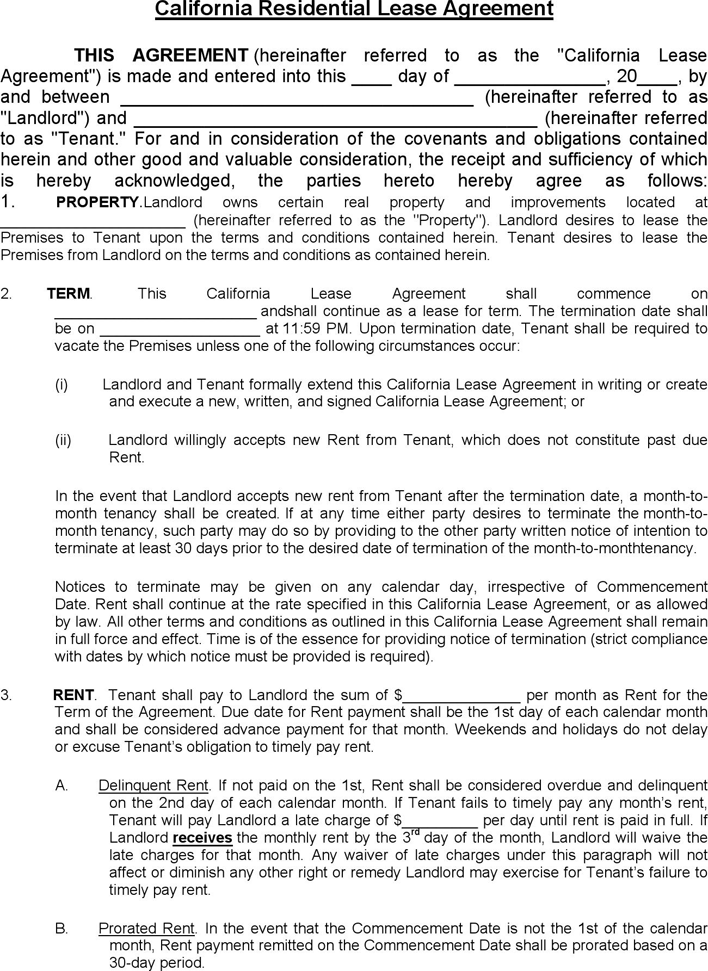 Download California Residential Lease Agreement 1 for Free - TidyForm