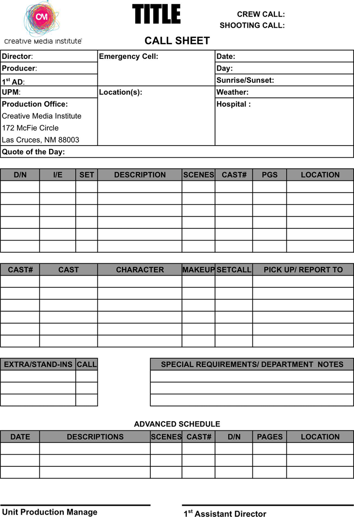 The Call Sheet Template 1 can help you make a professional and – Call Sheets Template