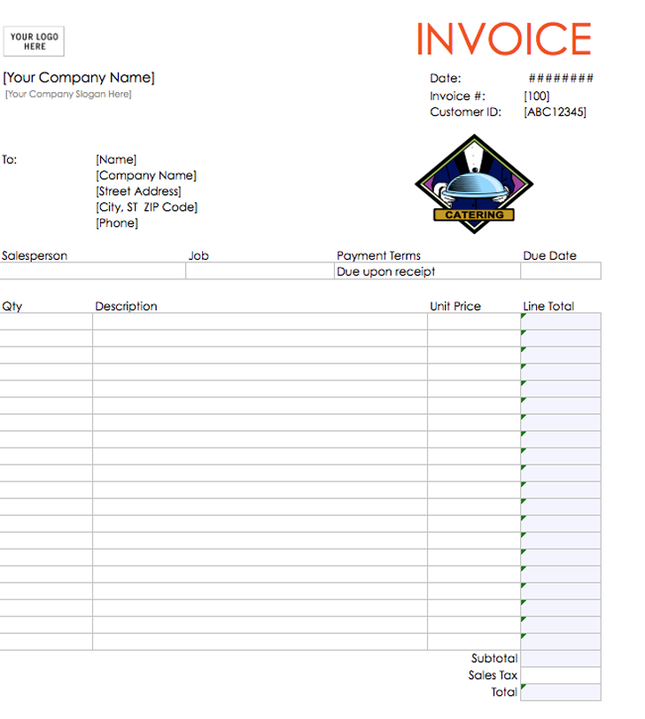 catering invoice template free download – notators, Invoice templates