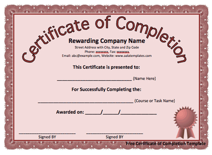 Completion certificate sample hatchurbanskript completion certificate sample yelopaper Image collections