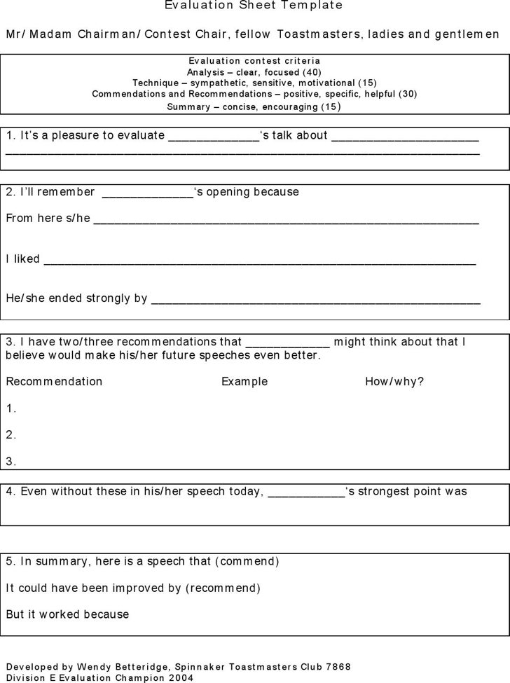 toastmaster evaluation form