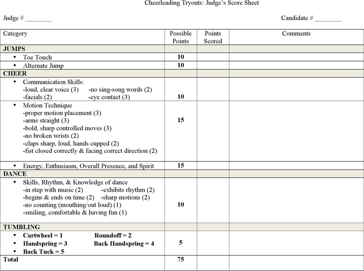 The Cheerleading Tryouts Judges Score Sheet can help you make a – Cheerleading Tryout Score Sheet