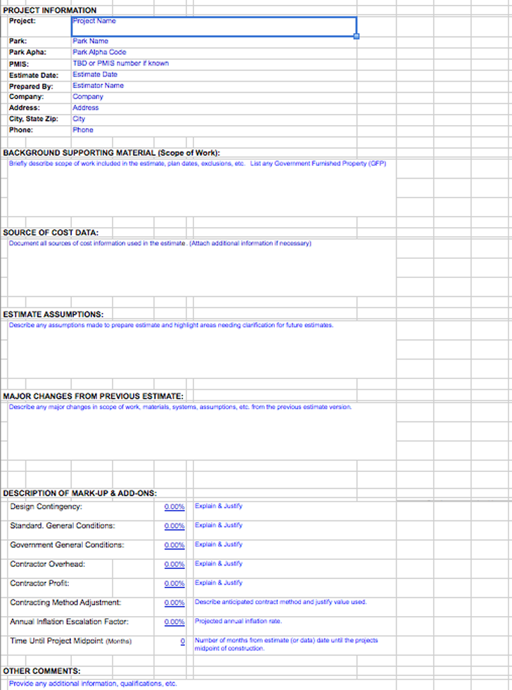 Download Class A Const Cost Estimate Template For Free