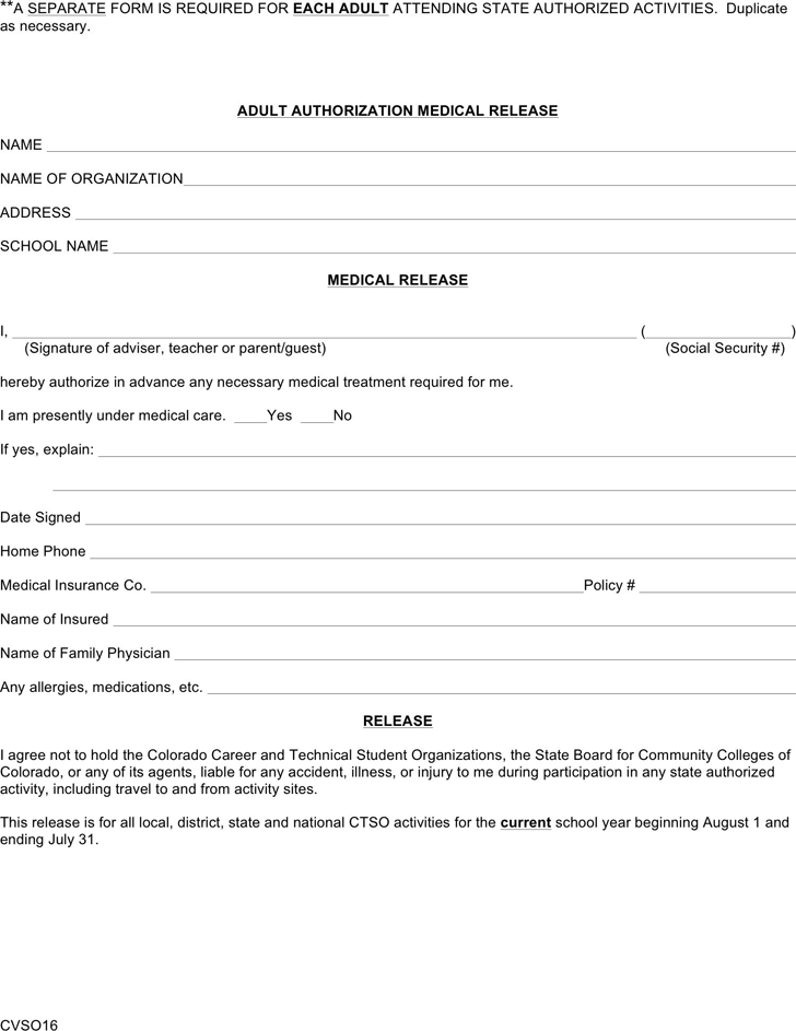 Doc403524 Medical Authorization Release Form Sample Medical – Medical Release Form