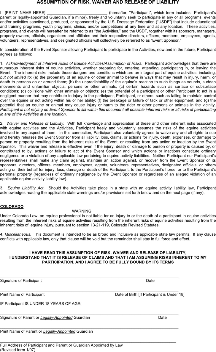 Colorado Assumption Of Risk Waiver And Release Of Liability  Liability Release Form Template Free