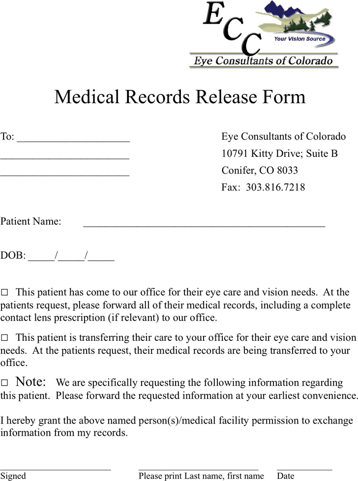 The Colorado Medical Records Release Form 3 can help you make a – Medical Records Release Forms