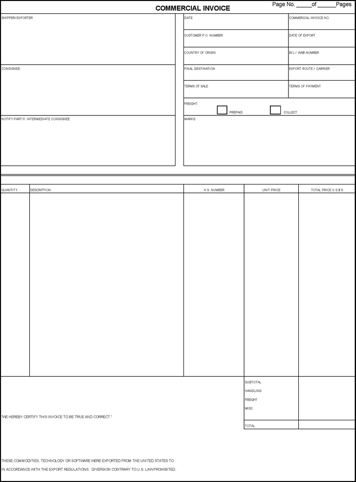 the commercial invoice form can help you make a professional and, Invoice templates