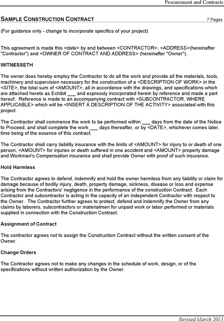The Construction Contract Template Free Download can help you make – Free Construction Contracts Templates