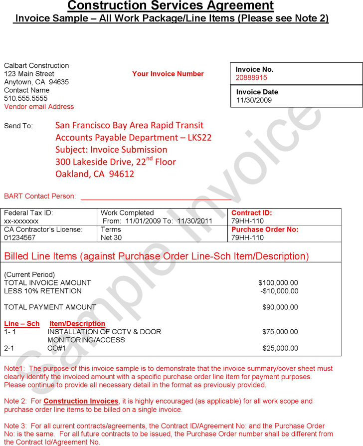 The Construction Invoice Sample can help you make a professional – Construction Invoice Template