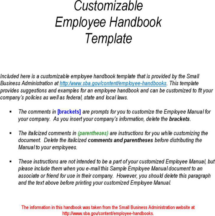 Download customizable employee handbook template for free for Employees handbook free template