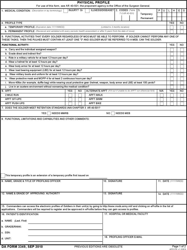 Free Da Form 3349 Fillable Pdf 2 Page S