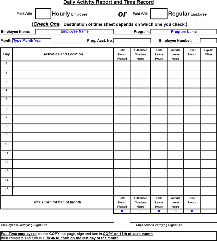 The Daily Activity Report Template can help you make a – Daily Activity Report Template