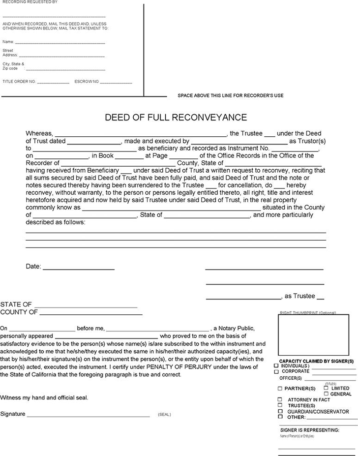 Download Deed of Full Reconveyance Form for Free - TidyForm