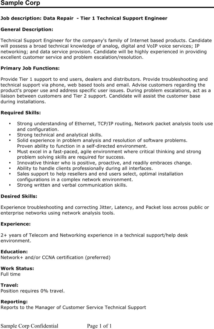 desktop support engineer resume - Desktop Support Engineer Resume Sample