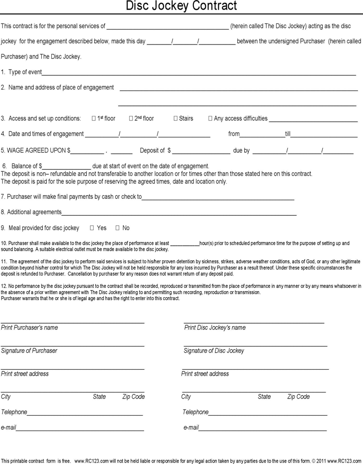 Download Disc Jockey Contract Form for Free - TidyForm